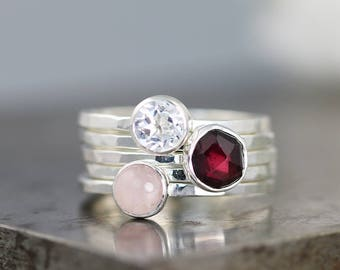 Wine Bar Stack Ring Set - Garnet/Rose Quartz/Topaz - Five Hammered Sterling Silver Stacking Rings with Gemstones - Size 5.25 - READY TO SHIP
