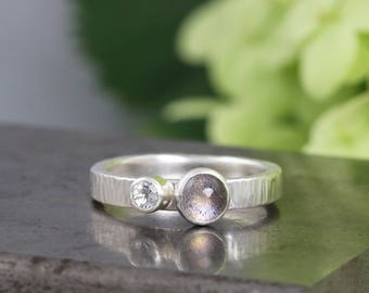 Hammered Labradorite Cabochon Ring with Faceted White Topaz - Sterling Silver Two Alternative Engagement Stone Ring - Size 7  READY TO SHIP