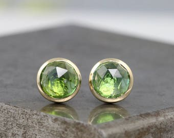 14k Yellow Gold Bezel Stud Earrings - Rose Cut 6mm Green Tourmaline - Small Round Natural Faceted Apple Green Gemstone Studs - READY TO SHIP