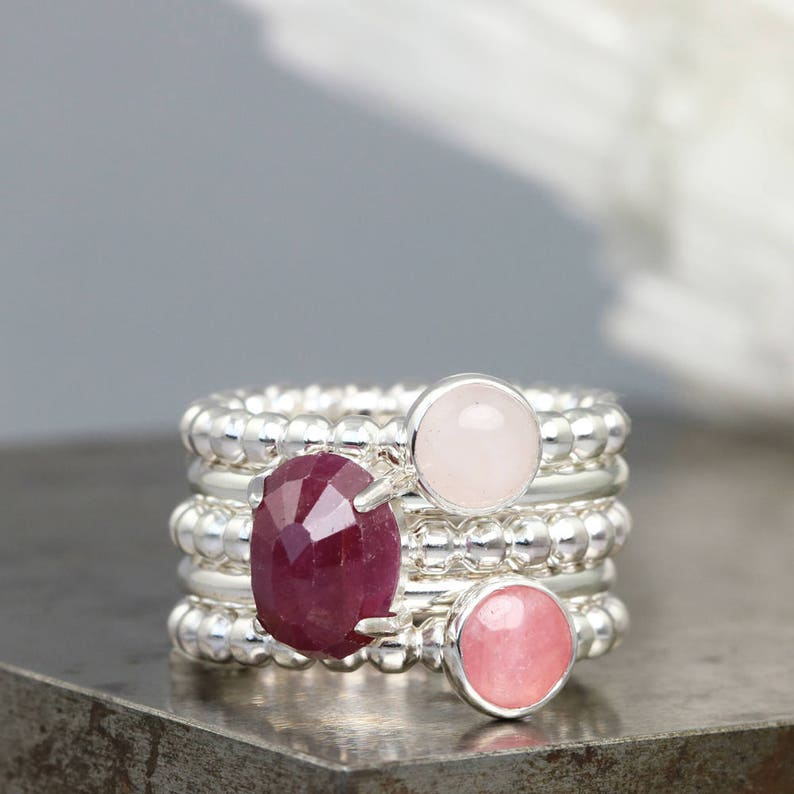 Rhodochrosite 925 Sterling Silver Faceted rose-red Rhodochrosite Oval Gemstone Jewelry Ring for Women Boho Jewelry Ring for her