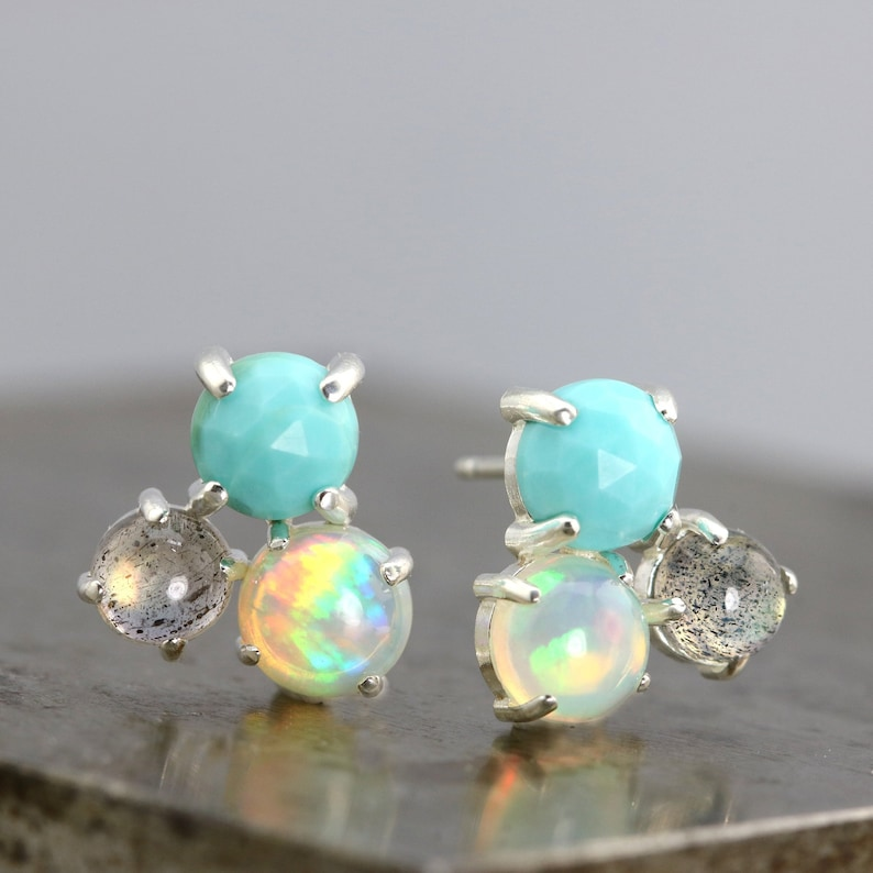 3767ea266 Three Stone Cluster Stud Earrings with Turquoise Welo Opal   Etsy