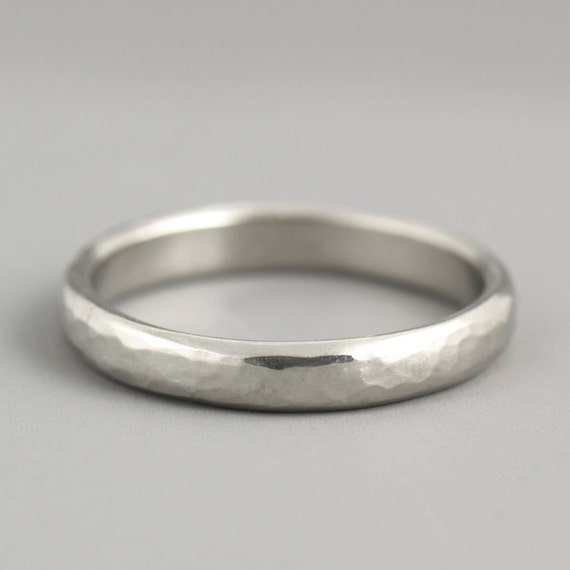 Womans 3mm Platinum Wedding Band Modern Clean Organic Etsy