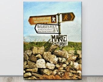 IRISH SIGN, Ireland Art, Celtic Decor, Co. CLARE, The Burren, Ballyvaughan, McGann, Irish Music, Country Road Sign, Doolin, Cliffs of Moher
