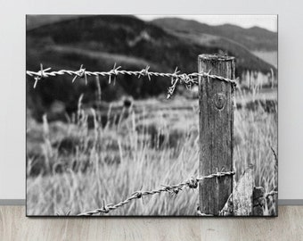 Barbed Wire Photo, Irish Landscape, DONEGAL, Black and White Landscape, Rural Ireland,Chic Country Decor, Mountains and Sea,Tall Field Grass