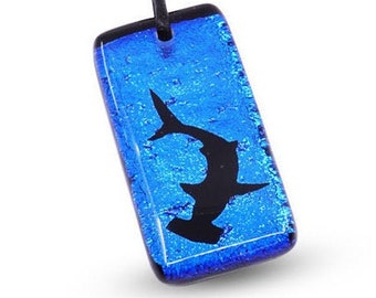 Shark pendant HammerHead Shark Necklace Dichroic Glass Pendant Handmade by Zulasurfing