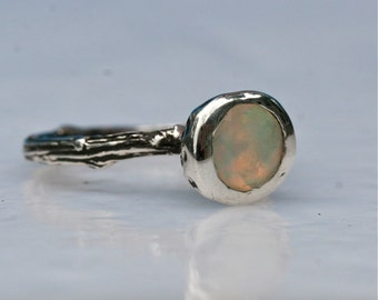 Sterling Silver Ring Tree Branch and Opal Stone Engagement Ring size 6.5 Handmade by zulasurfing