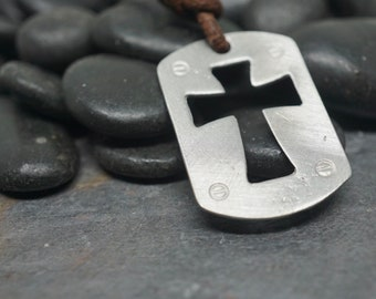 Surfer Necklace, Mens Cross necklace on Distressed Leather Cord, Surf Jewelry Handmade by Zulasurfing