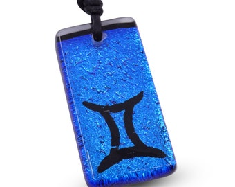 Gemini Zodiac Astrology Necklace horoscope sign Blue color dichroic glass Minimalist Necklace Handmade By ZulaSurfing