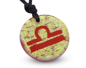 Libra Zodiac Pendant Sign Gold Color Fused Dichroic Glass Minimalist Necklace Mens jewelry Handmade by ZulaSurfing