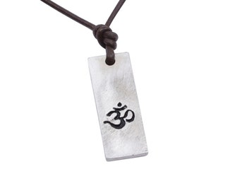 OM necklace Sanskrit symbol Hindu Yoga Reiki Art  Surfer necklace Pewter Minimalist Necklace Handmade by ZulaSurfing