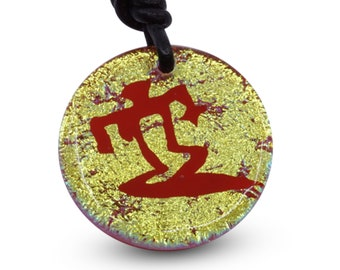 Hawaiian Petroglyph Necklace Surfer Rock Art Gold color Fuse Dichroic glass Minimalist Necklace Beach Jewelry Design Handmade by ZulaSurfing