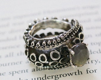 Octopus Tentacle Ring labradorite Ring Engagement Ring made of Sterling Silver adjustable Double tentacles Handmade by Zulasurfing