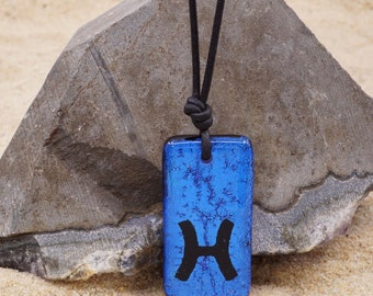 Zodiac Necklace Pisces Necklace Blue color Dichroic Glass Pendant with Black leather cord Handmade by ZulaSurfing