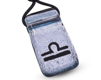 Libra Zodiac Pendant Sign Silver Color Fused Dichroic Glass Minimalist Necklace Mens jewelry Handmade by ZulaSurfing