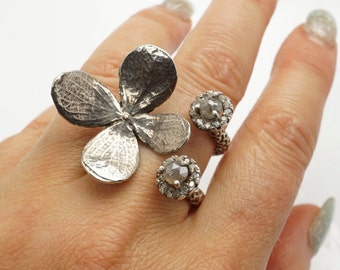 flower Ring with Rose cut Ring diamond Ring Adjustable Size Ring Handmade by Zulasurfing