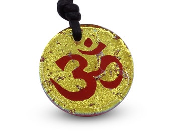 Om Necklace Yoga Necklace Minimalist Necklace Gold Color Dichroic Glass Pendant Handmade by Zulasurfing