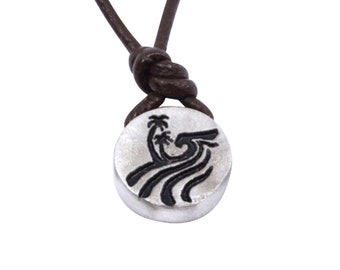 Palm tree wave necklace Pewter Pendant Small Size Handmade by ZulaSurfing