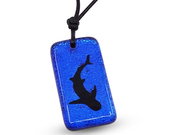 Great White Shark Necklace Blue Color Dichroic Glass Beach Jewelry Handmade by Zulasurfing