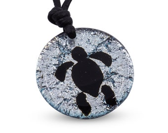 Sea Turtle Necklace Silver color fused glass Hawaiian Jewelry Beach Jewelry Minimalist Necklace Handmade by ZulaSurfing