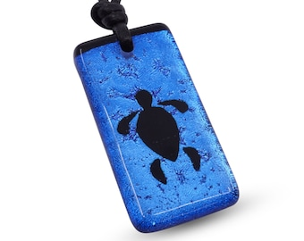 Sea Turtle Necklace Turtle Jewelry Blue color fused Glass Pendant Handmade By Zulasurfing