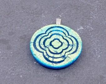 Flower Necklace Fabulous Dichroic Glass Pendant Round Modern Handmade by ZulaSurfing