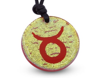 Taurus zodiac Necklace dichroic glass Jewelry Taurus Pendant Minimalist Necklace Handmade by ZulaSurfing