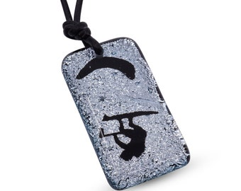 kiteboarding Gift Kitesurfing Necklace Silver color fused glass Beach jewelry Handmade by zulasurfing