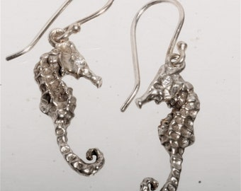 Seahorse Earrings Dangle Earrings Delicate .925 Sterling Silver and Diamond Sea horse eyes Design  Handmade by ZulaSurfing made to order