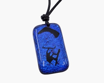 Kiteboarding jewelry kitesurfing necklace Blue color fused glass pendant Handmade  by Zulasurfing