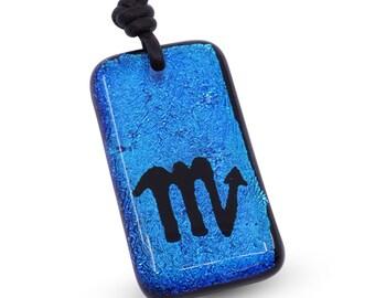 Scorpio Zodiac Sign Blue Color Dichroic Glass Pendant Mens Jewelry Minimalist Necklace Horoscope Handmade By ZulaSurfing