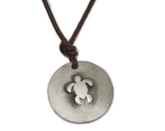 Turtle Necklace Beach Jewelry Sea Turtle Pendant with leather cord Handmade by ZulaSurfing