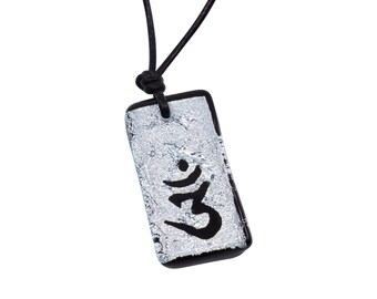 Om Necklace Yoga Necklace Silver Color Dichroic Glass Minimalist necklace Handmade by Zulasurfing. model2