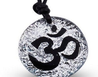 Om Necklace Yoga Necklace Minimalist Necklace Silver Color Dichroic Glass Pendant Handmade by Zulasurfing