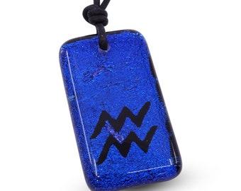 Aquarius Necklace Zodiac jewelry horoscope Sign pendant Blue color Fused glass pendant Minimalist Necklace Handmade by ZulaSurfing
