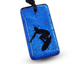 Surfer Necklace Beach Jewelry fused glass pendant Hawaiian Jewelry Handmade by ZulaSurfing