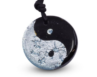 Yin Yang Necklace Yoga Necklace Fused Glass Mens Jewelry Minimalist Necklace Handmade by ZulaSurfing