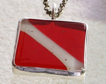 Scuba Diving Down flag Fused Glass Pendant set in sterling silver Bezel Handmade by ZulaSurfing