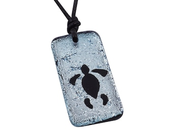 Turtle Necklace Beach Jewelry Silver color fused Glass Pendant Surfer necklace Handmade By ZulaSurfing