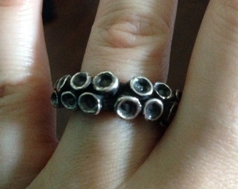 Tentacle Ring Silver Tentacle Ring wedding band size 10 .925 sterling silver Handmade by Zulasurfing