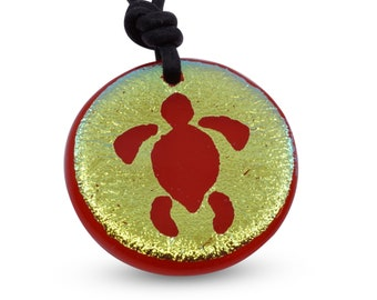Sea Turtle Necklace fused glass pendant Turtle Necklace Beach Jewelry tropical Necklace Handmade By Zulasurfing