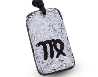 Zodiac Pendant VIRGO Sign Silver Dichroic Glass Pendant with Black leather cord Handmade by zulasurfing