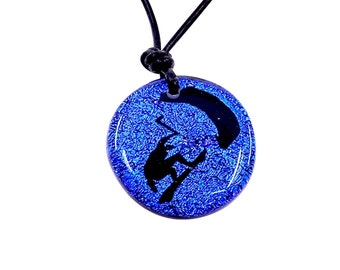 Kiteboarding Necklace Kitesurfing beach Jewelry Blue Color fused Glass Handmade by ZulaSurfing