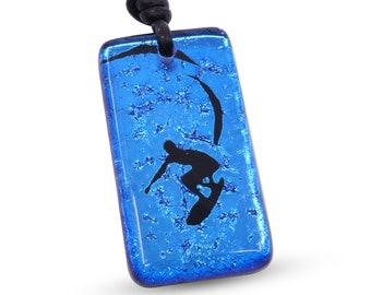 Surfer Necklace Beach Jewelry fused glass pendant Mens Necklace  Hawaiian Jewelry Handmade by ZulaSurfing