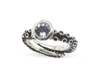 Octopus Ring Tanzanite Ring Engagement Ring Tentacle Wedding band Silver platinum Octopus jewelry Handmade by Zulasurfing