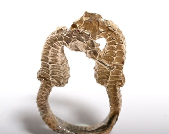 Seahorse Ring Limited Edition Brass Double Seahorse Jewelry adjustable size 5-6.5 Handmade by ZulaSurfing
