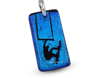 kiteboarding Gift Kitesurfing Necklace Blue color fused glass Handmade by ZulaSurfing