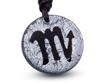 Scorpion  Zodiac Sign Silver Dichroic Glass Pendant Mens Jewelry Minimalist Necklace Horoscope Handmade By ZulaSurfing