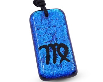 Zodiac Pendant VIRGO Sign Blue Dichroic Glass Pendant with Black leather Handmade by ZulaSurfing