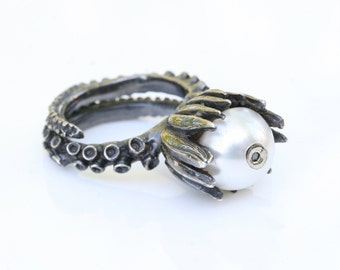 Flower Ring Octopus Tentacle Ring Sterling silver and  white pearl with brown diamond adjustable Ring  Handmade by ZulaSurfing