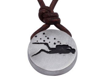 Scuba Diving Diver Pewter Round Pendant on 2mm brown color leather cord Handmade by ZulaSurfing